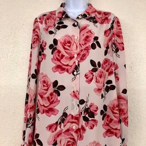 Kate Spade Floral Rosa Pink Roses Blouse, Size 12